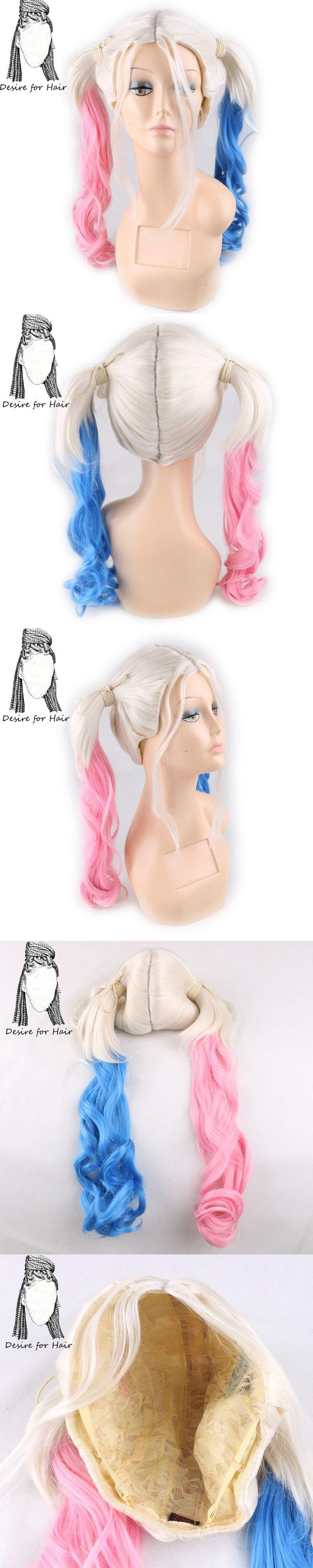 Desire for hair 40cm long pink and blue color wavy double ponytail high tempreture synthetic fiber movie cosplay wig for party