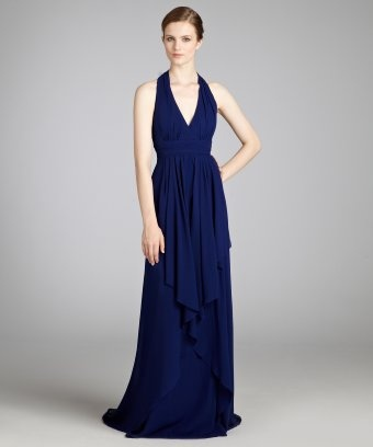Nicole Miller : sapphire crepe pleated drape front halter gown : style # 320375302  This is sold out on bluefly and was on gilt today but i love and maybe we can find somewhere.
