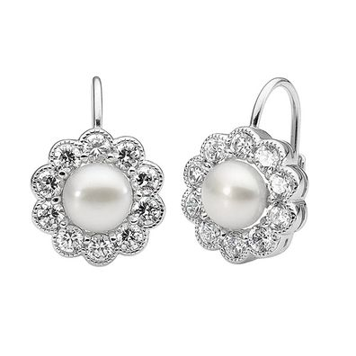 Silver and Some - Georgini Earrings, Clear CZ and White Pearl Earrings $169.00