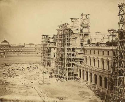 New Louvre under construction, Paris (circa 1855). Architects: Louis-Tullius-Joachim Visconti and Hector-Martin Lefuel, Photographer: Edouard Baldus.