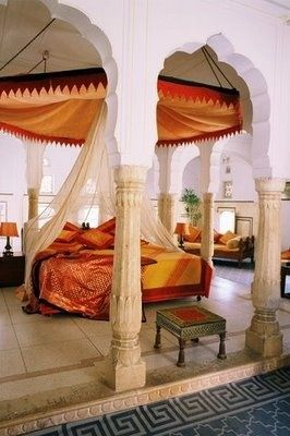 Stunning Indian-Inspired Bedroom fit a princess - Samode Palace Hotel, Rajasthan, India.