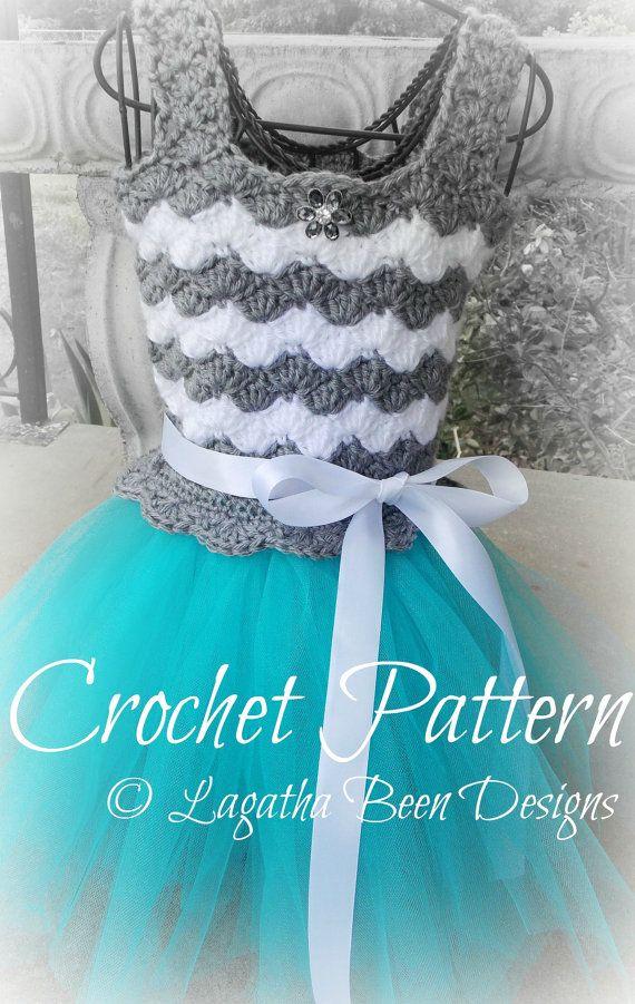 Crochet chevron tutu dress pattern  PDF27 digital by LadybugLB2, $3.99