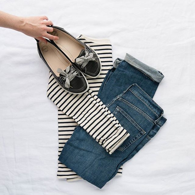 """When in doubt, pair a striped tee, soft denim and your favourite pair of FRANKiE4s - You can't go wrong!  Our pick? SOPHiE for her quick """"slip on and go"""" attitude. 😘  #frankie4footwear #savingsoles #podiatristdesignedfrankie4 #physiotherapistdesigned #australiandesigned"""