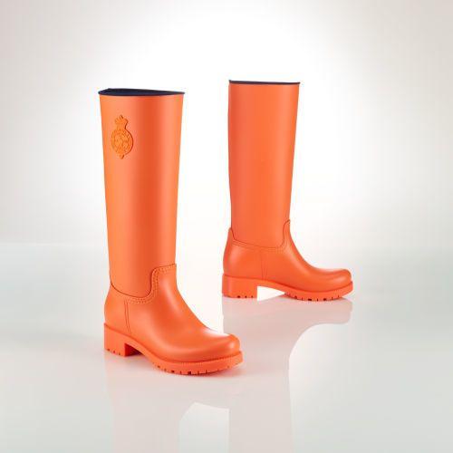 €165, Bottes de pluie orange Polo Ralph Lauren. De Ralph Lauren. Cliquez ici pour plus d'informations: https://lookastic.com/women/shop_items/146675/redirect