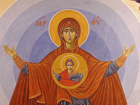 Theotokos Oranta painted by Marchela Dimitrova