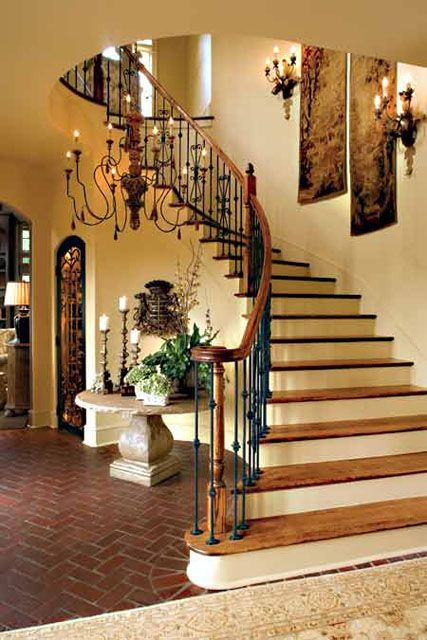 25 best ideas about decorating staircase on pinterest for Furniture for curved wall in foyer