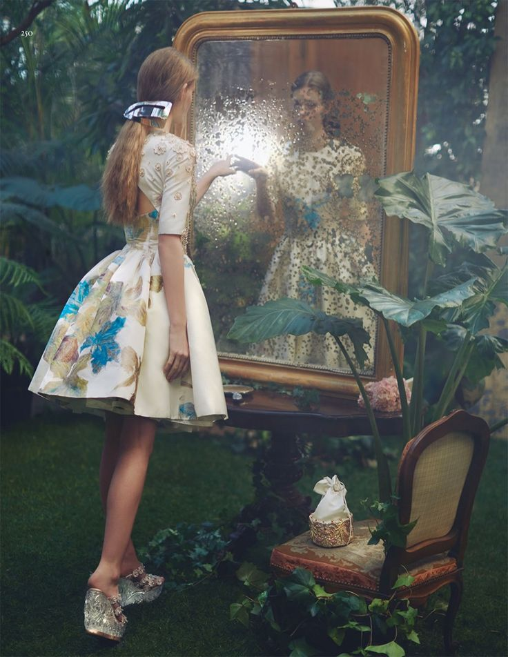 Inspired by Alice in Wonderland, the editorial features dreamy spring dresses for Vogue China Magazine April 2016 issue