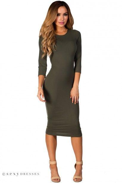 """Margo"" Olive Green 3/4 Sleeve Jersey Bodycon Midi Dress"