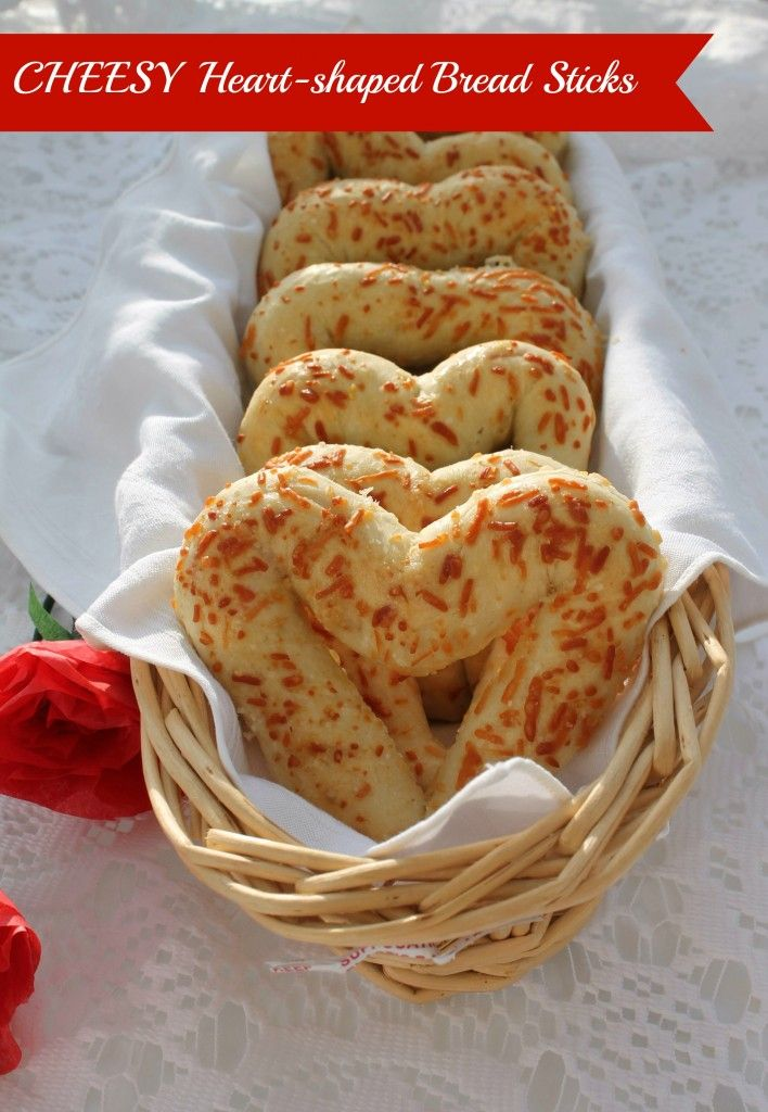 These cheesy, heart-shaped bread sticks will make your Valentine's Day meal really special! #bread #recipe
