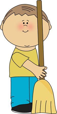 Boy Classroom Sweeper Clip Art - Boy Classroom Sweeper Vector Image