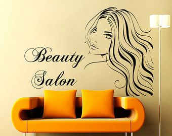 Wall Decals Beauty Salon Decor Girl Hair Sticker Hairdressing Decal Living Room Home Interior Design Art Mural  Dear Buyers, Welcome to our shop!   ★ SIZE AND COLOR ★ Approximate Item Sizes:   22 Tall x 19 Wide / 56 cm Tall x 48 cm Wide 32 Tall x 28 Wide /81 cm Tall x 71 cm Wide 44 Tall x 38 Wide / 112 cm Tall x 96 cm Wide   If this size is inappropriate for you, you can contact us and provide your dimensions and we can create for you decal of any size. ✓✓✓Please, in case of two colored…