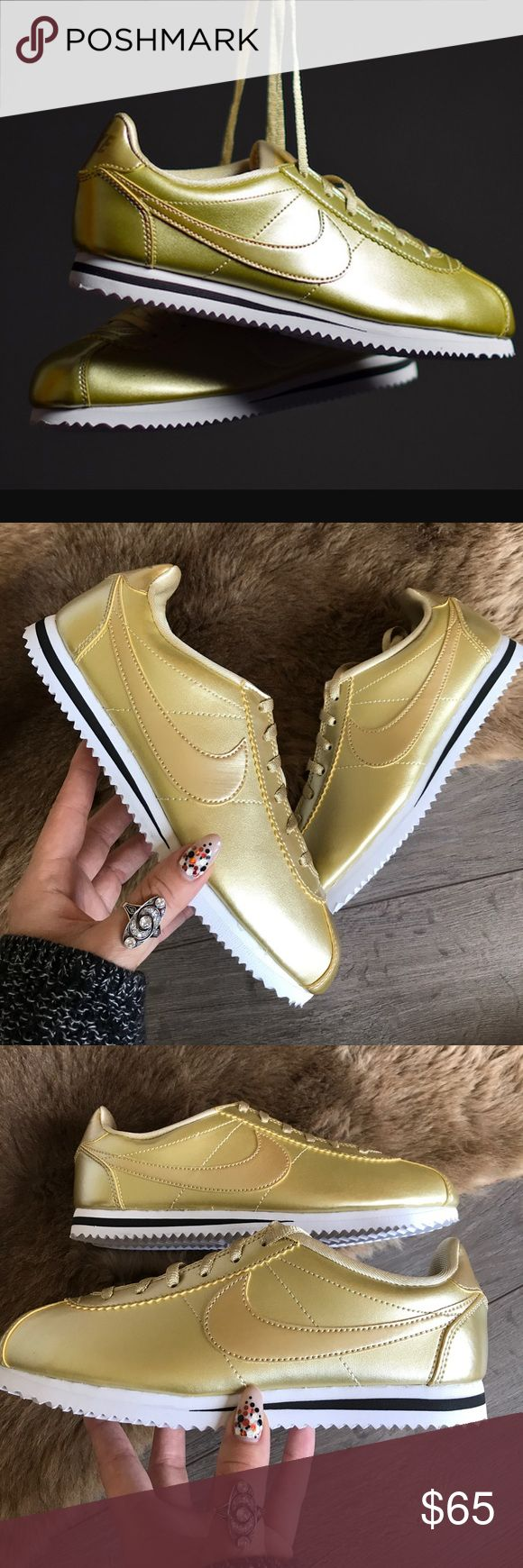 NWT Nike Cortez metallic gold Brand new size 5Y -women's 6.5 price is firm!!!! Indulge in iconic Nike sneakers with the Classic Cortez.  Full-grain leather upper. Classic herringbone outsole for comfort and traction. Nike Shoes Sneakers