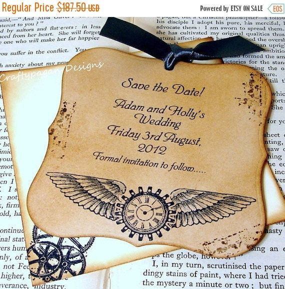 69 best wedding invitation ideas images on pinterest invitations steampunk save the date magnet x 75 with matching by craftypagan fandeluxe Images