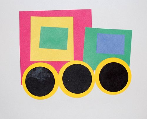 preschool craft with different shapes | Brilliant Beginnings Preschool: Shape Transportation:) - use with t for train