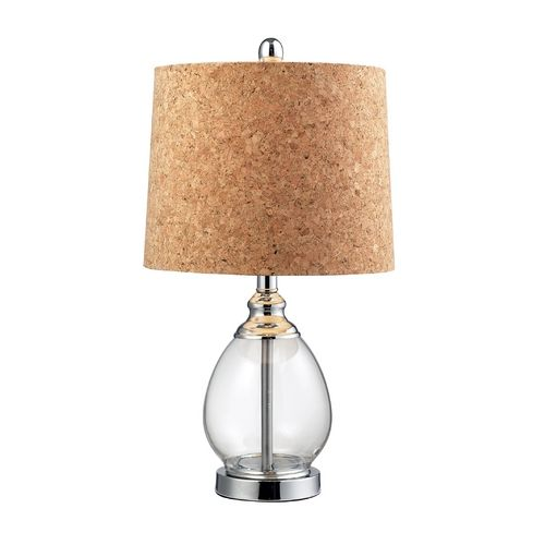 HGTV Homes Clear Table Lamp With Cork Shade. Fresh Style With An Eye  Towards Sustainable