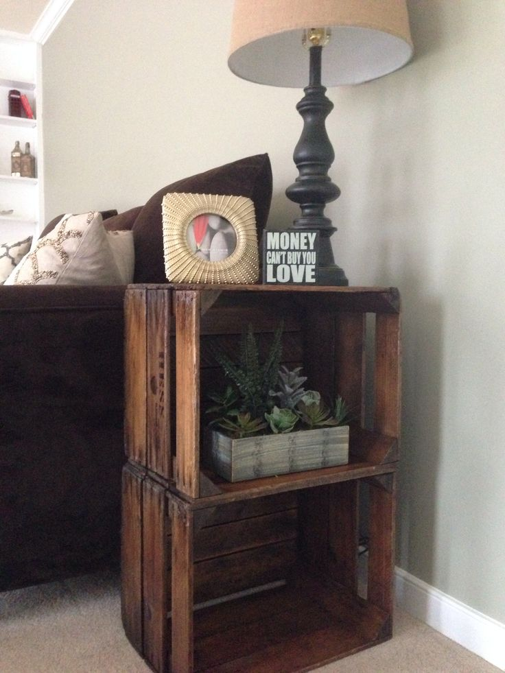 Antique apple crates into end tables!                                                                                                                                                                                 More