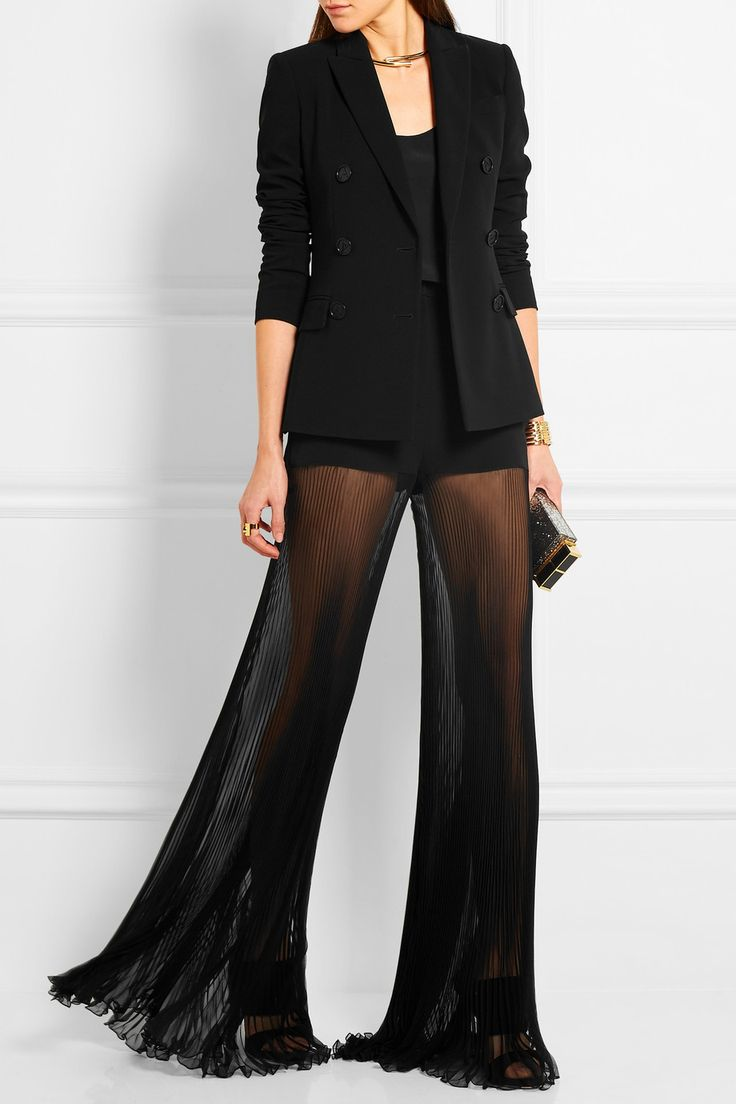 VERSACE Cady and plissé silk-chiffon wide-leg pants