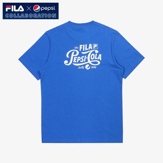 [Fila X Pepsi Cola] Limited Collaboration Logo T-shirt Unisex Adult Blue #FILA #Tshirt