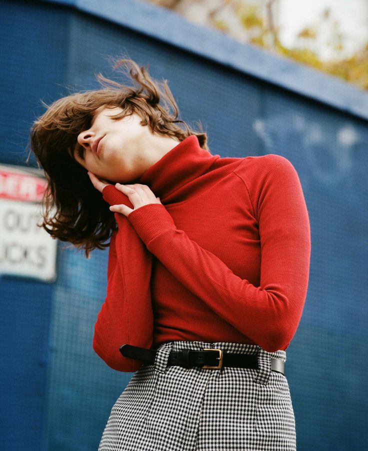 Red turtleneck and houndstooth