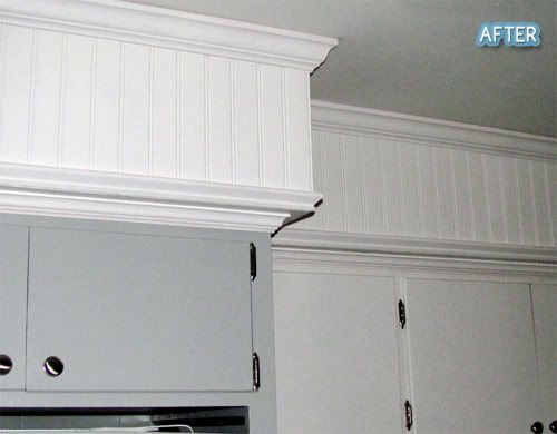 Sofit disguised with crown molding and beadboard.
