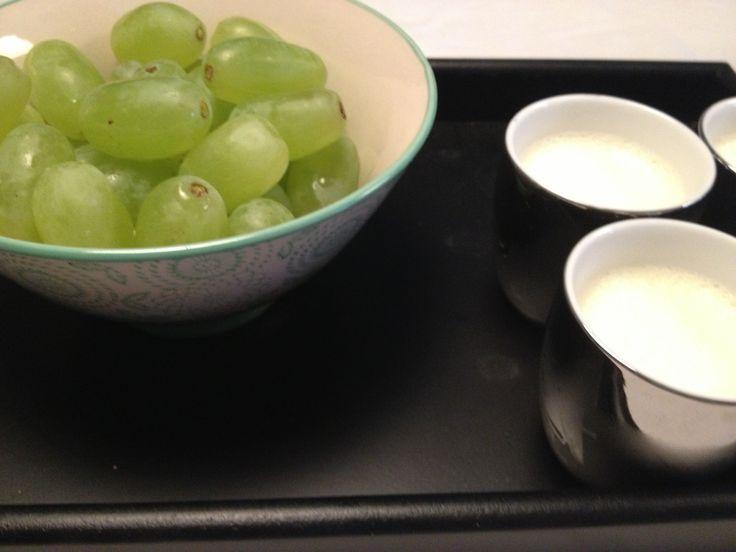 Panna cotta and grapes