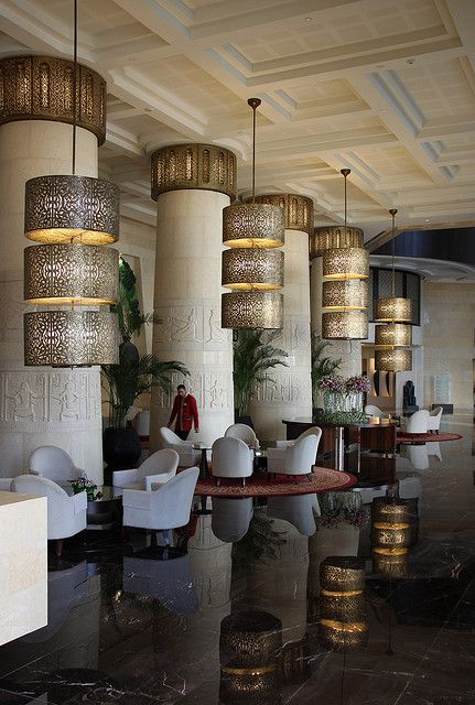The Raffles Hotel, Dubai. Photo by kwikzilver, via Flickr. Vintage, modern, luxury or eclectic hotels. Wich are you favourites? See some decor tips for your own interior projects, here: http://www.pinterest.com/homedsgnideas/