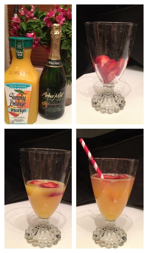 Simple Peach Mango Mimosa Ingredients: Strawberries, Arbor Mist Peach, Simply Orange w/ Mango Directions: Slice Strawberries, fill glass 1/3rd with Simply Orange w/ Mango Juice, Top off with chilled Arbor Mist Peach.