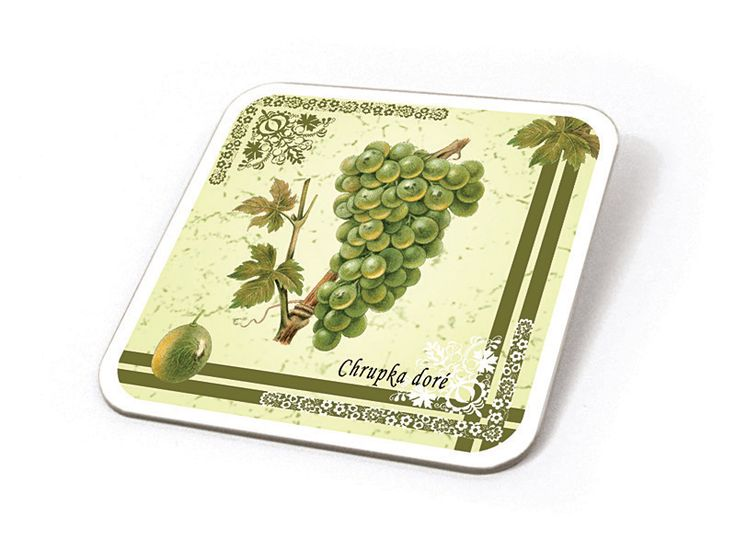 Podtácek ze sady 6 ks s motivy starých odrůd vinné révy