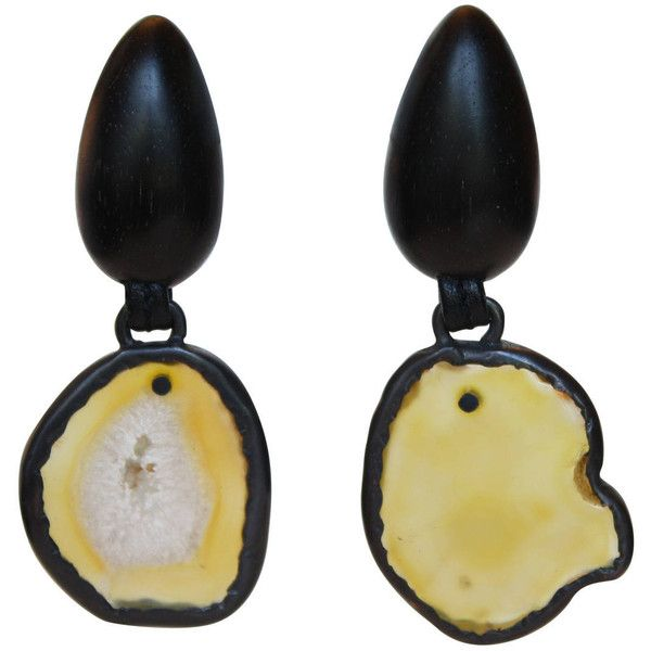 Preowned Monies One-of-a-kind Agate And Ebony Clip Earrings (435 CAD) ❤ liked on Polyvore featuring jewelry, earrings, black, monies jewelry, bohemian jewelry, black earrings, black jewelry and boho earrings