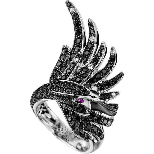 Cypris, the Swan 18ct white-gold with pavé black sapphires, diamonds... ($18,585) ❤ liked on Polyvore featuring jewelry, rings, white gold ruby ring, ruby diamond ring, pave ring, black diamond jewelry y white gold rings