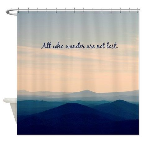 fabric shower curtain bathroom decor mountains pnw