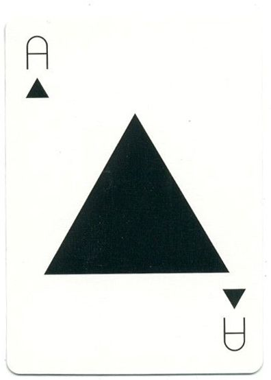 A /\ . Tauba Auerbach playing card from One Deck of Cards, 2009.