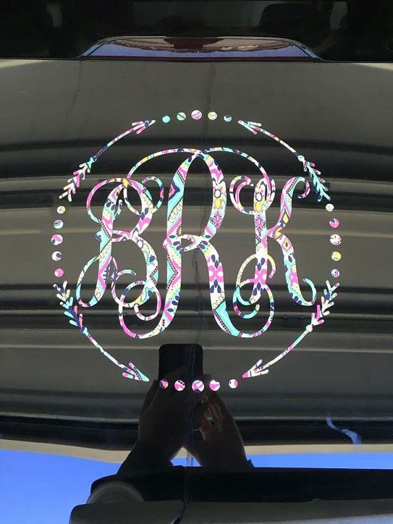 ***Update: if you would like a Lilly Pulitzer pattern not shown, please message me and I will make it available. Cutest accessory for your car?? Personalized Monogram Decals! Monogram letters available in: -Standard -Vine -Fancy Script  With or without border: -Scalloped Circle -Arrow Circle -Bow Framed  Sizes available from 3-12 inches!  Went ordering, select size and vinyl pattern from drop down menu. In the message to sender box, please list:  1. Initials ~ (first-LAST-middle) 2. Monogram…