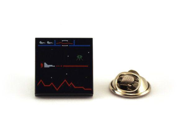 Retro Defender Video Game Display Tie Pin Tie Tack Pin by Pinhero