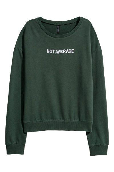 993046dbdc5b Sweatshirt with Printed Design   Dark green/Not Average   WOMEN   H&M US