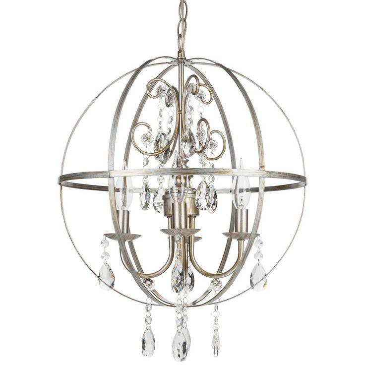 4 light crystal orb plugin chandelier silver