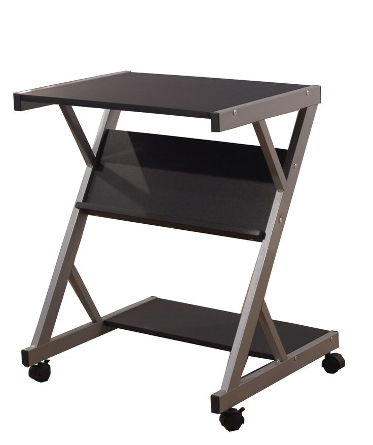 TMS Computer Cart with Shelf, Black. Mobile computer cart with shelf. Casters for easy mobility. Black finish.