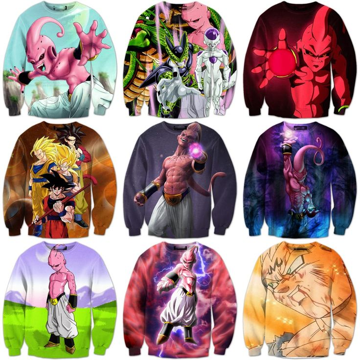 Classic Anime Dragon Ball Z 3D Sweatshirt Characters Goku/Majin Buu Print Crewneck Pullovers Women Men Long Sleeve Outerwear