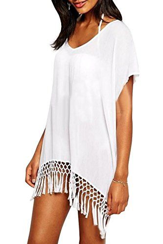 "Women's Bohemian Style Sexy Beach Cover up. - 100% polyester - relaxed fitting and comfortable - Length 30"" - One size fits most - White or Black"