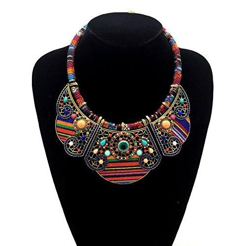 2016 New women bohemia necklace&pendants multicolor statement choker necklace za antique tribal ethnic boho jewelry mujer bijoux (Red)