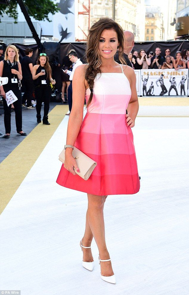 Pretty in pink: Jessica Wright slipped into a fuchsia cocktail dress for the London premie...