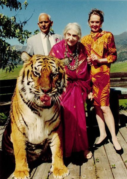 """Ceramicist, Theosophist & Teacher Beatrice Wood, here with her manager R.P. Singh, Tippi Hedren and Shamba the tiger, lived to 105. The secret to her long life: ""art books, chocolates and young men."""