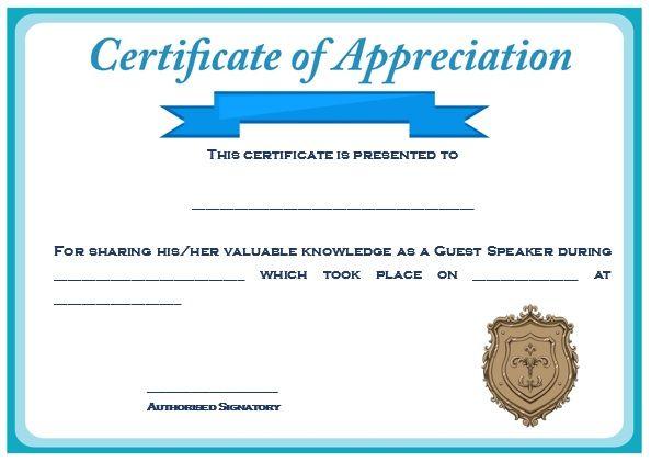 Sample Certification of Appreciation for Guest Speaker 2