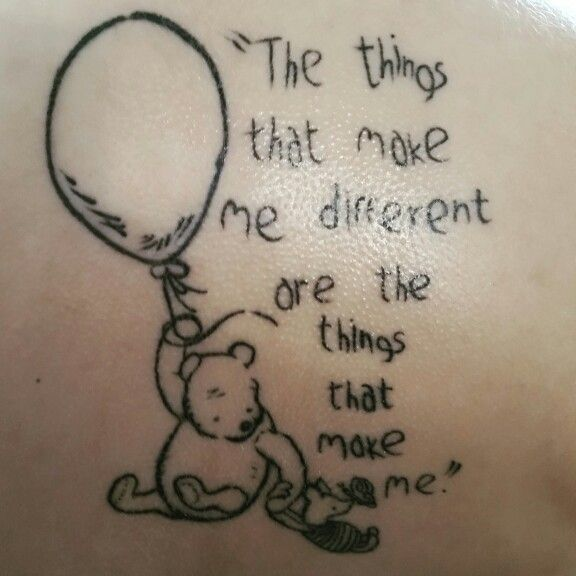 Winnie the pooh tattoo. Is make the balloons shaped like the autism puzzle piece, though, for Owen.