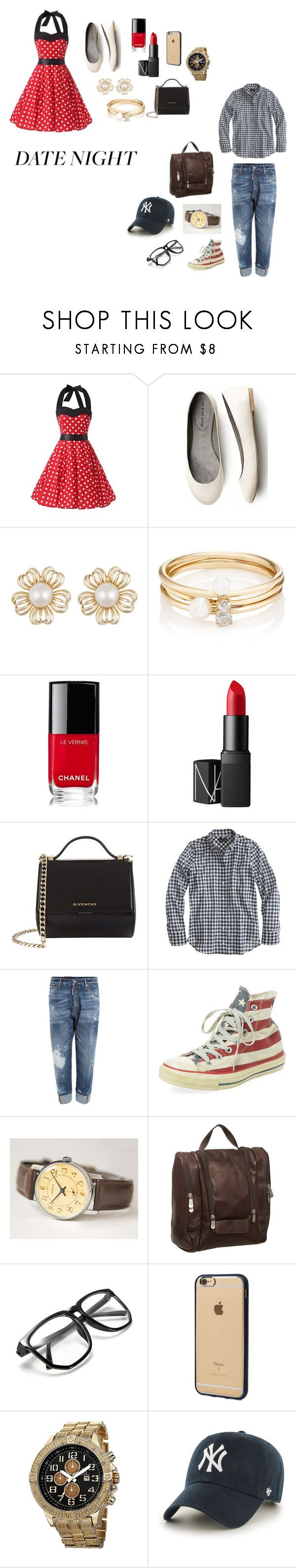 """""""Date Night"""" by kellygallagher-i ❤ liked on Polyvore featuring Loren Stewart, Chanel, NARS Cosmetics, Givenchy, J.Crew, Dsquared2, Converse, Piel Leather, Incase and Joshua & Sons"""