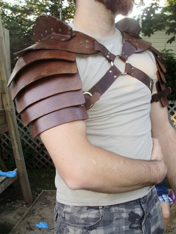 Gladiator hardened leather double shoulder armor $250.00, via Etsy.