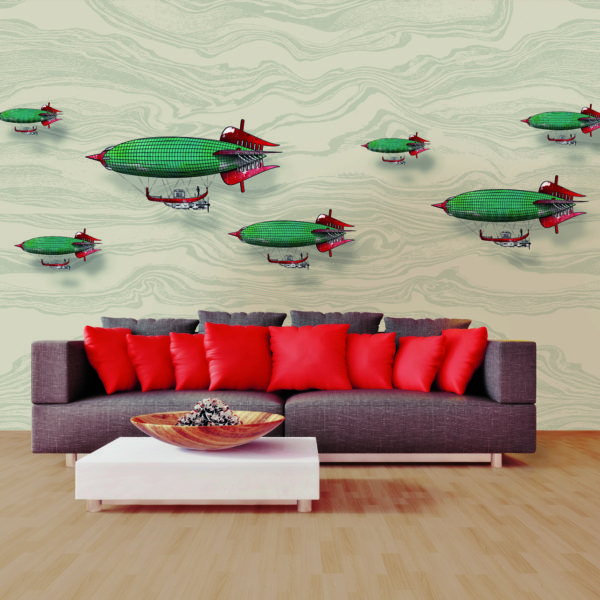 Wallpaper - Papier peint,  AIRSHIP wallpaper (38),  fantasious theme inspired by the legendary airships   By SKINWALL Dream Wallpaper, Italy
