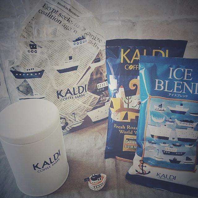   夏のコーヒーバッグ #夏のコーヒーバッグ2016#カルディ#KALDI#KALDICOFFEEFARM#coffee #数量限定#ビニールバッグ#キャニスター缶 #boat#summer#ig_japan #cooffeestagram#日々#日常#暮らし #買い物記録#備忘録 ↟⌂* 20160715 ⚮̈ 今年もこの季節がやってきました 昨年に続きゲットです * 本日発売のカルディ夏のコーヒーバッグ 2016 今年のキャニスター缶はホワイト ホワイトにブルーのロゴ かわいい♡ そして布のトートバッグから ビニールバッグに変わってました。 夏っぽいね⚓️ このお船さんのイラストが またまたかわいい♡♡ * コーヒー豆が二の次でゴメンなさい 多分普通に美味しいと思うから⁽(◍˃̵͈̑ᴗ˂̵͈̑)\ ♪♪ / * #アイスブレンド #カリビアンサマー