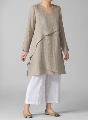 PLUS Clothing - Linen Layering V-neck Tunic