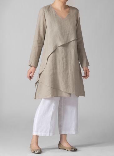 PLUS Clothing - Linen Layering V-neck Tunic lacocinadeamparo@gmail.com compartido desder www.hoycocino.es